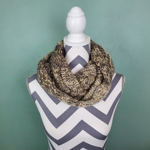 Maurices Gold Gray Metallic Knit Infinity Scarf